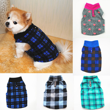 Cute Check Dog Clothes For Small Dogs Winter Fleece Pullover Pet Dog Vest Hoodies Warm Thicken Cat Pet Costume Outfits Jacket image