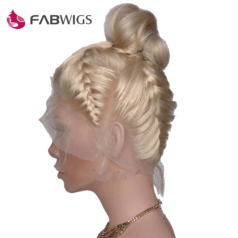 Fabwigs 150% Density Pre Plucked #613 Blonde Full Lace Human Hair Wigs With Baby Hair Brazilian Remy Human Hair Wigs For Women
