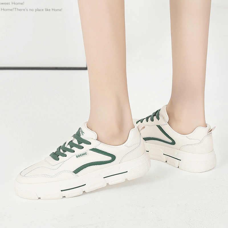 คุณภาพสูงของแท้หนังผู้หญิงรองเท้าผ้าใบแฟชั่นรองเท้าสบายสีเขียว Beige LACE-up Flats รองเท้าแพลตฟอร์มรองเท้า