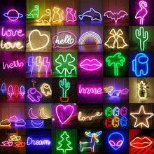 Sign Lights Neon-Lamp Decoration-Hanging Holiday-Decor Rainbow Wall-Art Bedroom Xmas