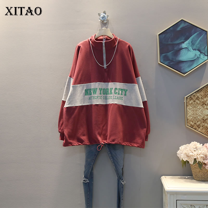 XITAO Hit Color Letter Print Sweatshirt Women Clothes 2020 Spring New Fashion Stand Collar Full Sleeve Casual Sweatshirt ZLL4992