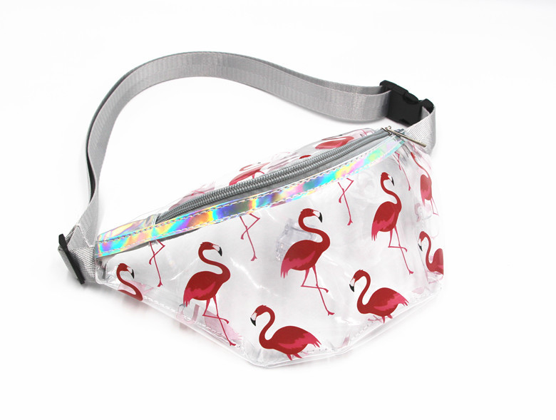 PINK Transparent Waist Bag Children PVC Holographic Flamingos Fanny Packs Young Girls Waterproof Chest Bag Kids Cute Hip Bum Bag