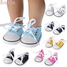 7 cm lona denim tênis novo nascido sapatos de bebê artesanal tênis de renda para 18 polegadas americano 43 cm bonecas do bebê presentes