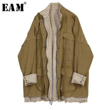 [EAM] Loose Fit Woolen Split Plaid Big Size Jacket New Stand Collar Long Sleeve Women Coat Fashion Tide Autumn Winter 2019 1K575(China)