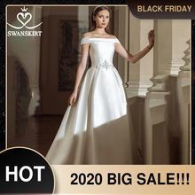 Swanskirt בציר חתונת שמלת 2020 אופנה סירת צוואר כבוי כתף אונליין קריסטל סאטן נסיכת הכלה Vestido דה novia GY24