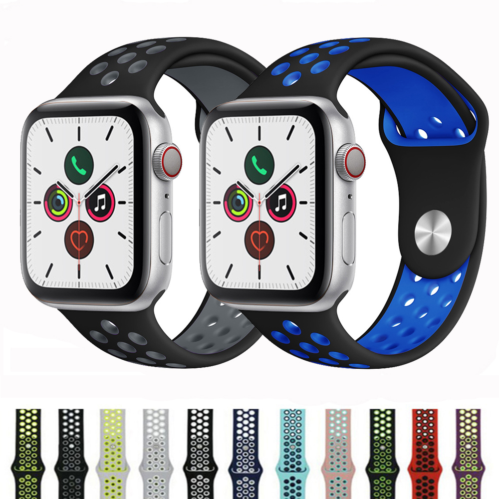 Silicone Strap For Apple Watch 5 4 Band Correa Applewatch 44mm 40mm 42mm 38mm Iwatch 5 4 3 2 1 Wrist Sports Bracelet