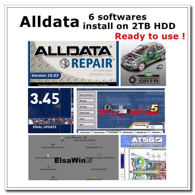 Auto Repair Software Alldata 10.53 Vivid workshop data ElsaWin6.0 ATSG 2017 Auto..data 3.45 Mit..chell install well on 2TB HDD
