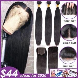Image 3 - Straight Bundles With Closure Brazilian Hair Weave Bundles With Closure Human Hair Bundles With Closure Hair Extension remy