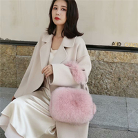 IANLAN Women Import Full pelt Fox Fur Handbag Genuine Cowhide Crossbody Bags Ladies Fluffy Fur Shoulder Bags IL00530