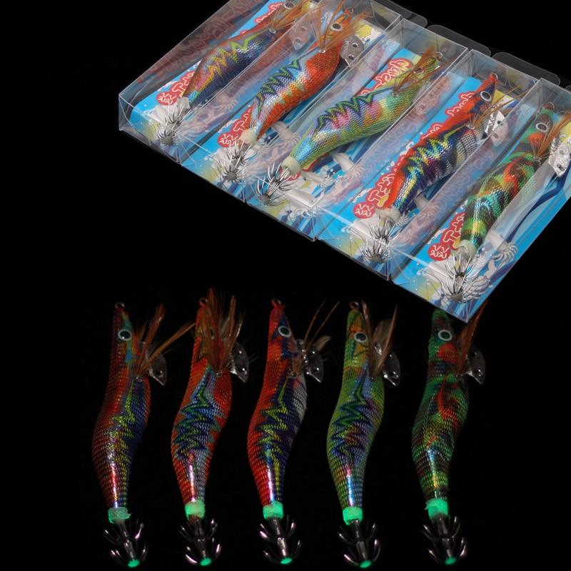 10pcs Luminous Squid hook bait 12g 14.5g Wood Shrimp Lure wraped laser stickers for octupus Cuttlefish Jigging fishing hooks|Fishing Lures| - AliExpress