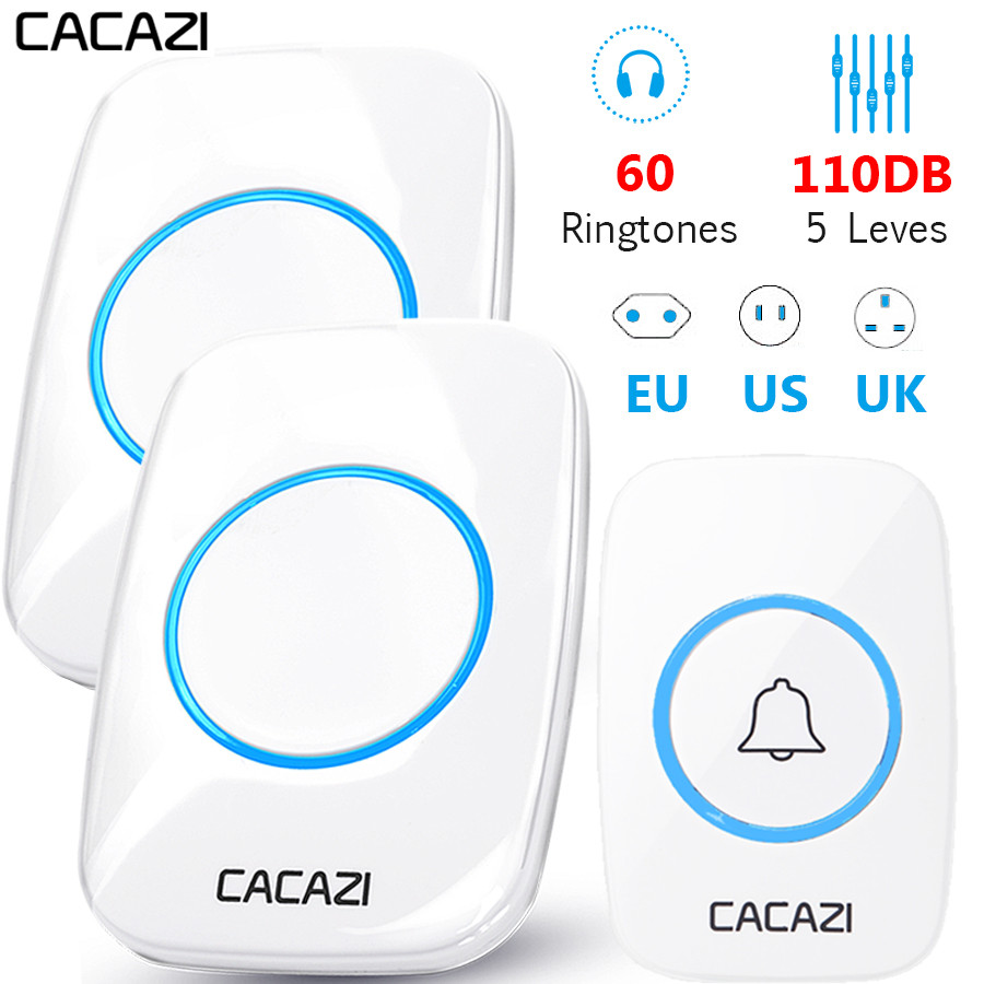 CACAZI 60 Chime 110DB Wireless Doorbell Waterproof 300M Remote EU AU UK US Plug Home Door Bell Battery Button 1 2 3 4 Receiver