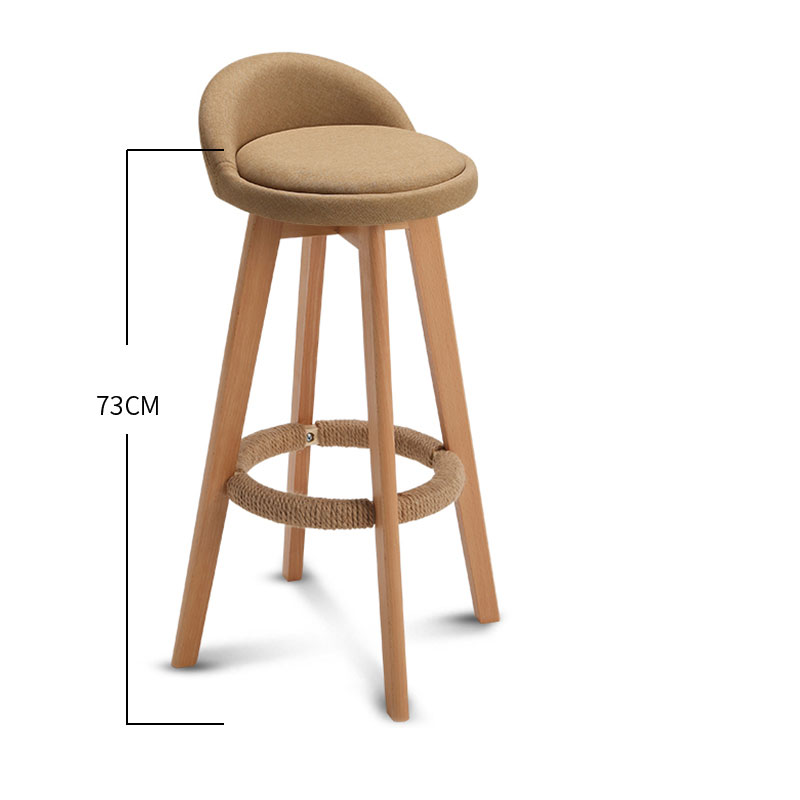 73CM Seat Height Bar Chair With Four Wood Legs Cloth Or Leather Seat