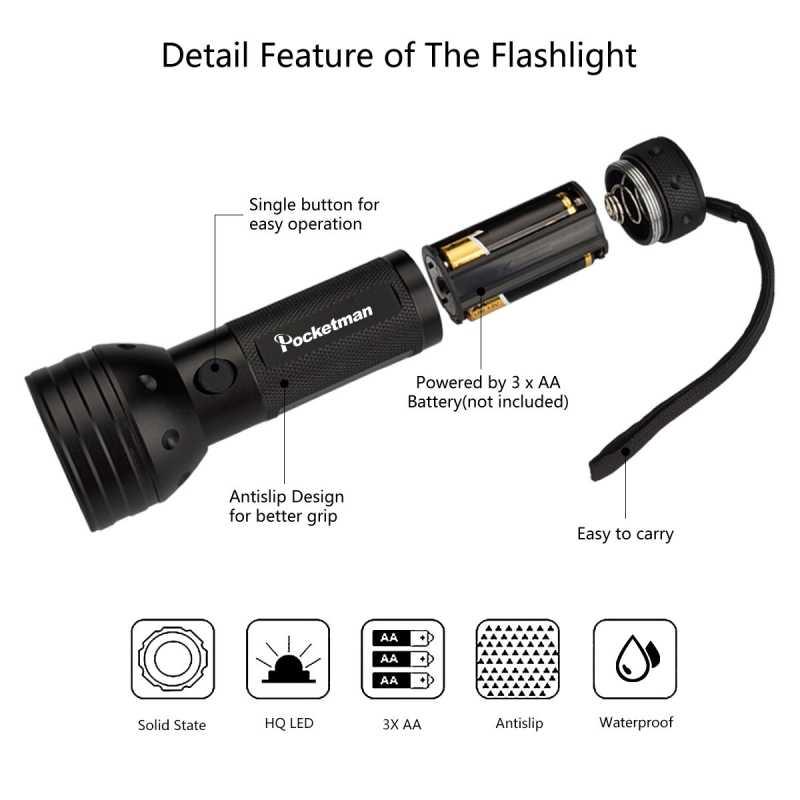 Detector uv do diodo emissor de luz 395-400nm da luz 395-400nm para a urina do cão, as manchas do animal de estimação e o bug da cama
