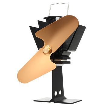 New 2 Blade Stove Fan Aluminum Fireplace Fan Heat Powered Wood Burner Fan Eco-Friendly Quiet Home Efficient Heat Distribution Pa