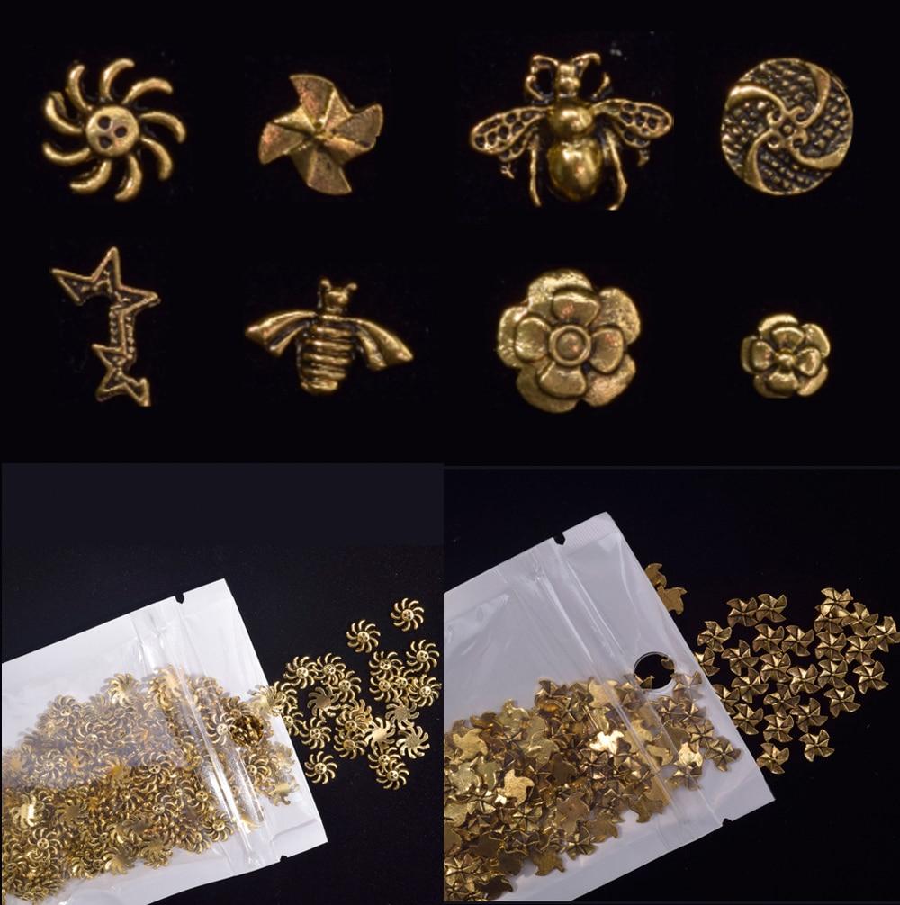Купить 50pcs 3d alloy metal ancient bronze nail art decorations vintage