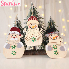 Staraise Creative Christmas DIY Santa Claus Wooden Pendant Snowman Tree Ornament Wood Crafts Party Decor