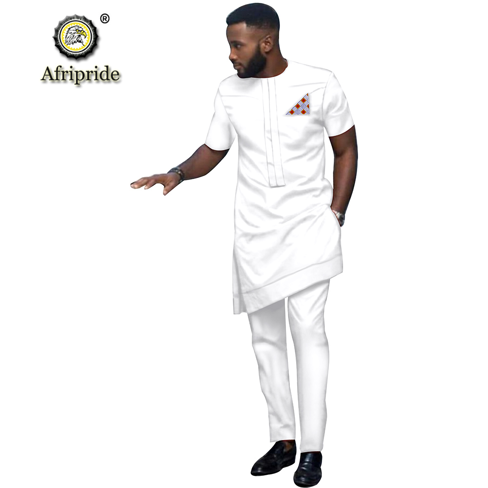 2019 African Men Clothing Tribal Outfit Printed Long Shirt Pant 2 Piece Set Dashiki Short Sleeve Tracksuit AFRIPRIDE S1916016