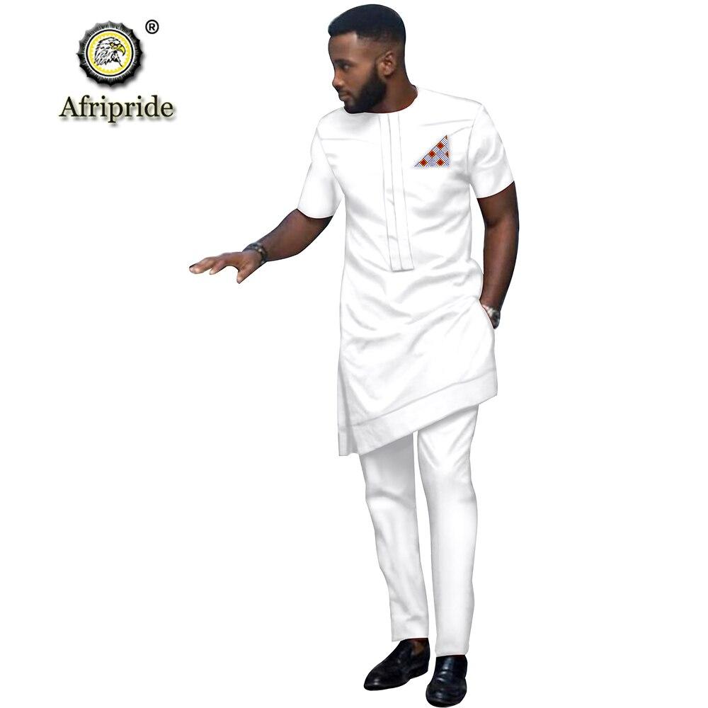 2019 African Men Clothing Tribal Outfit Printed Long Shirt Pant 2 Piece Set Dashiki Short Sleeve Tracksuit AFRIPRIDE S1916016