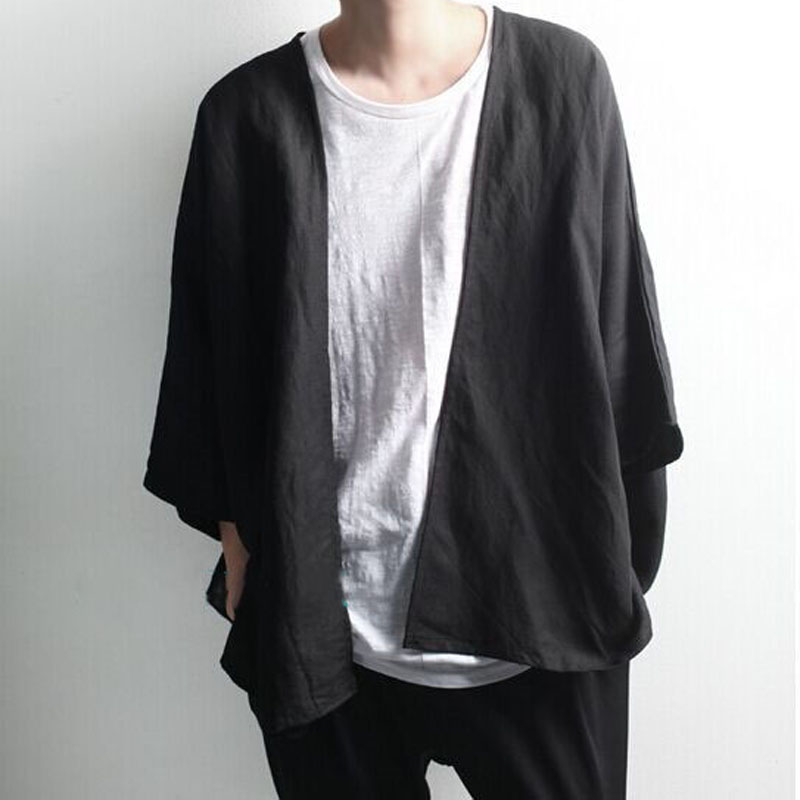 Diablo Tide Men's Linen Cardigan Bat Shirt Cloak Cape Shawl Bat Sleeves Without Collar Seven-sleeve Shirt Trend
