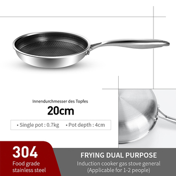 316/304 Stainless Steel Frying Pan High Quality Pan Fried Steak Non Stick Pan General Purpose Induction Cooker Honeycomb Wok Cookware Home & Garden Home Garden & Appliance Kitchen Tools & Gadgets Kitchen, Dining & Bar Non Stick Cookware Non Stick Cookware Non Stick Frying Pan Color: 20cm pan 304