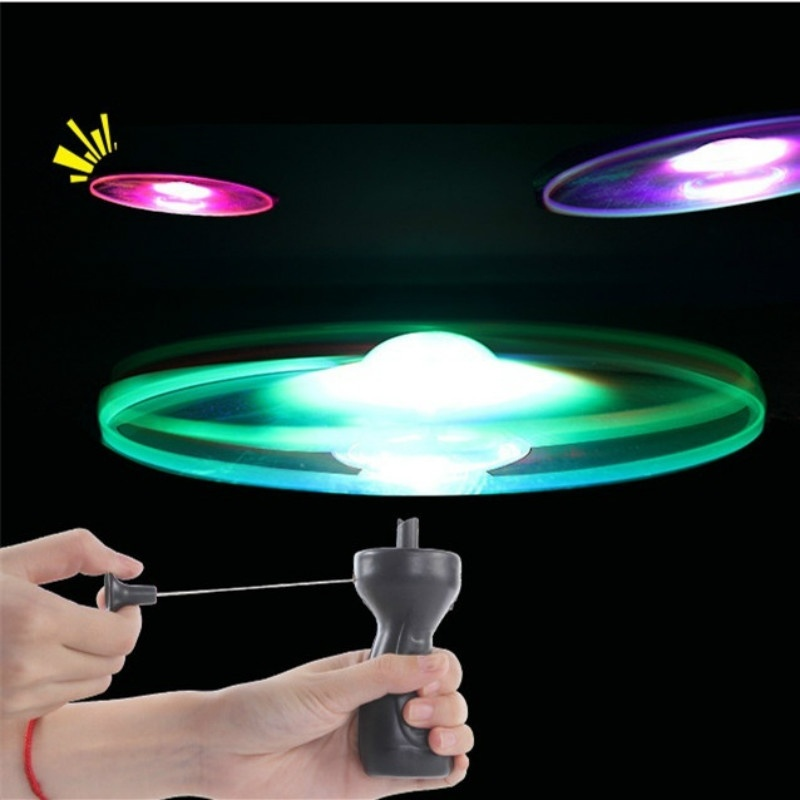 Funny Spinning Flyer Luminous Flying UFO LED Light Handle Flash Flying Toys for Kids Outdoor Game Color Random(China)