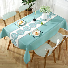 Tablecloth waterproof, oil proof and wash free tea table Nordic fabric cotton hemp net red ins Chinese tablecloth simple modern