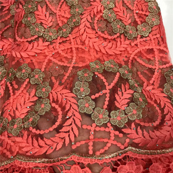 High Quality African Lace Fabric With stones African Embroidery Guipure Lace fabric for Nigerian Net lace women Dress 5yard