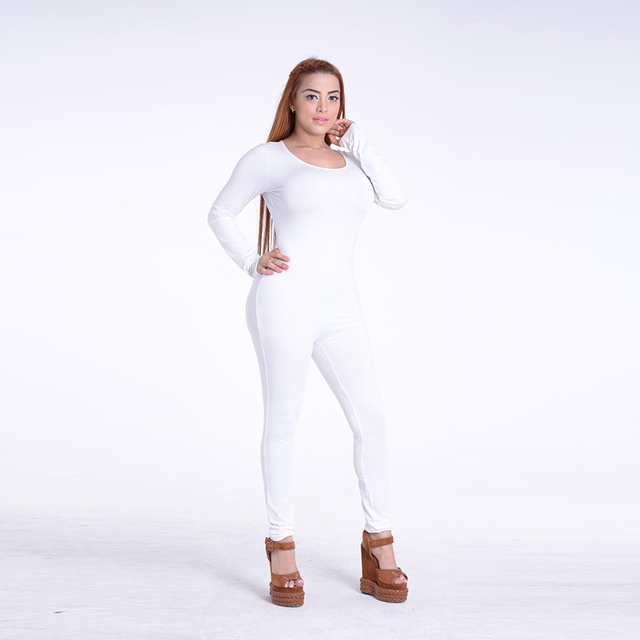 Sexy White O Neck New Bodycon Jumpsuit Long Women 2020 Fashion Pants Color New long sleeve Red Solid Black Wine Jumpsuits Romper 3