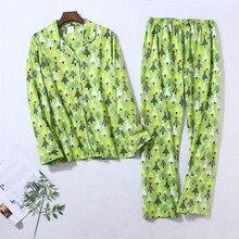 100% Katoenen Pyjama Set Vrouwen Winter Warm Sexy Femme Print Cartoon Pyjama Lange Mouwen Broek 2 Stuk/set Mom Homewear