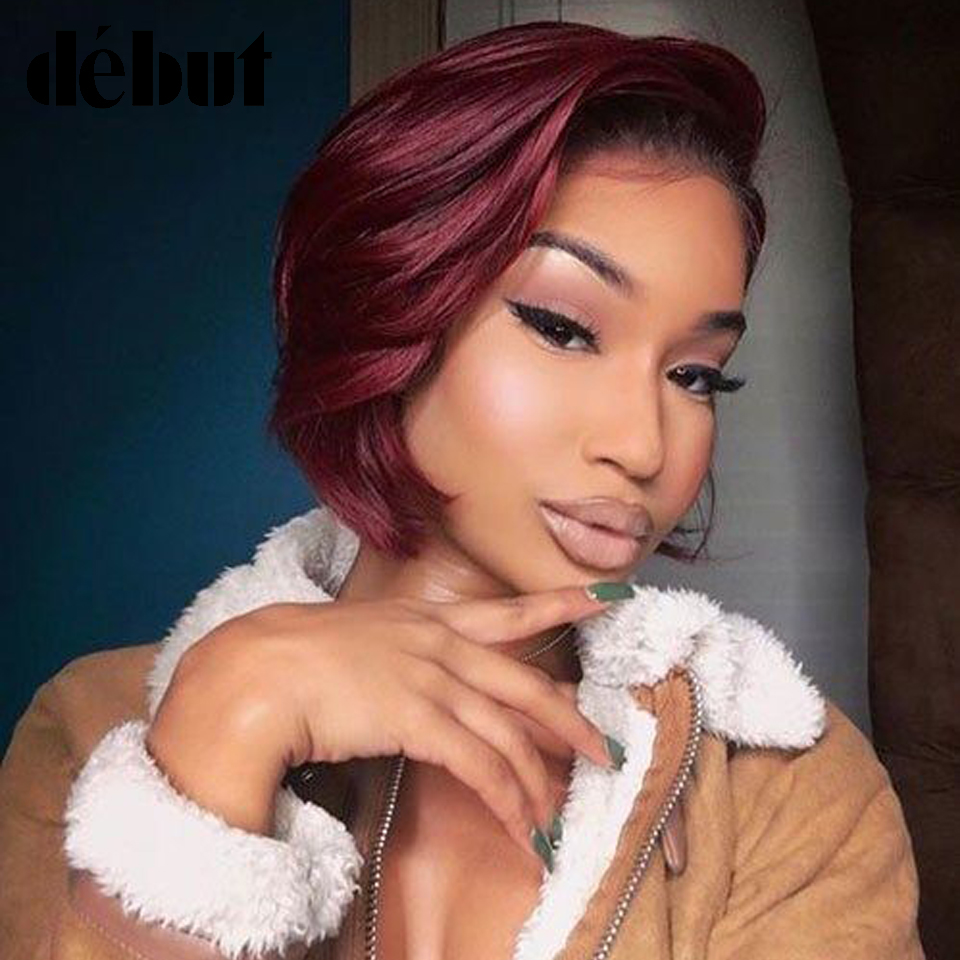 Bob Lace Front Wigs Brazilian Lace Front Human Hair Wigs For Women Debut Human Wigs With Bangs Ombre Short Bob Wig Free Shipping