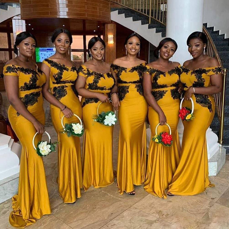 Wedding Guest Dress Gold Satin Mermaid Bridesmaids Dresses With Lack Lace Appliqued Cheap Long Brides Maid Dresses  2020 Cheap