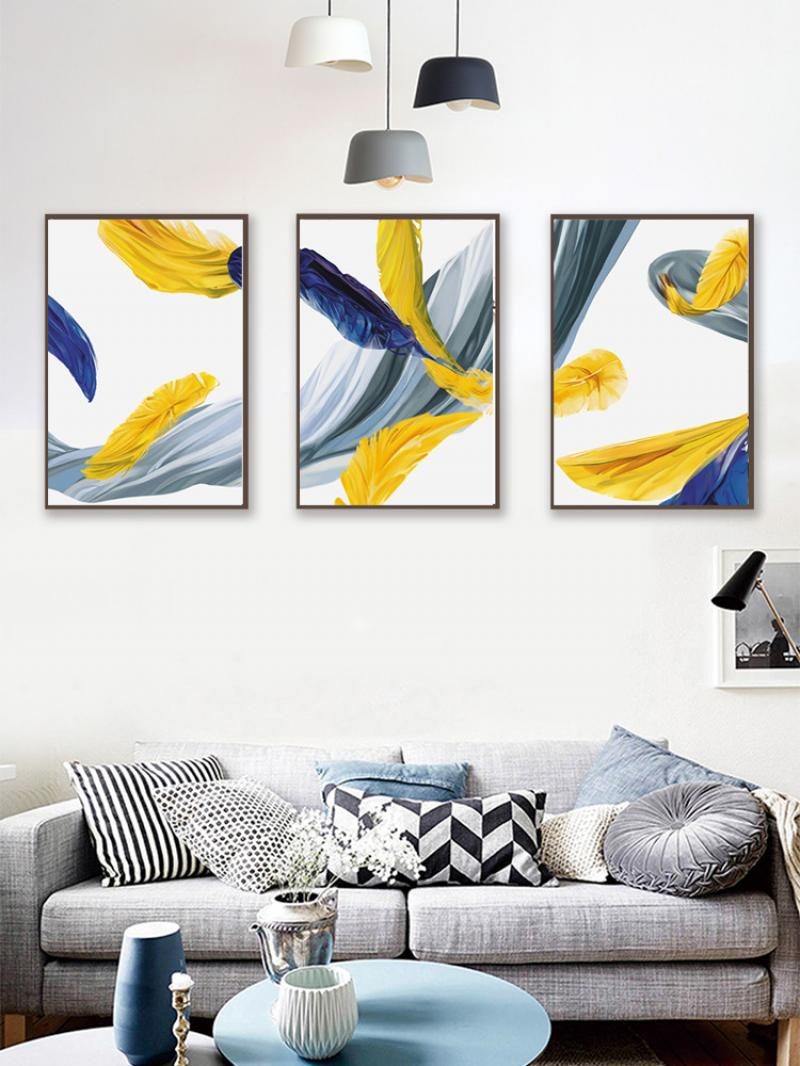 Minimalist Nordic Style Wall Painting Yellow and Blue Feather Abstract Modern Home Light Luxury Frameless Canvas Printing Poste  - buy with discount