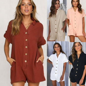 Women Jumpsuit Sexy Office Lady Chiffon Solid Summer 2020 Hot New Short Sleeve Shirt Button Rompers Playsuits Jumpsuits Shorts european and american fashion elegant chiffon jumpsuits piece pants 2018 summer rompers office lady womens jumpsuit