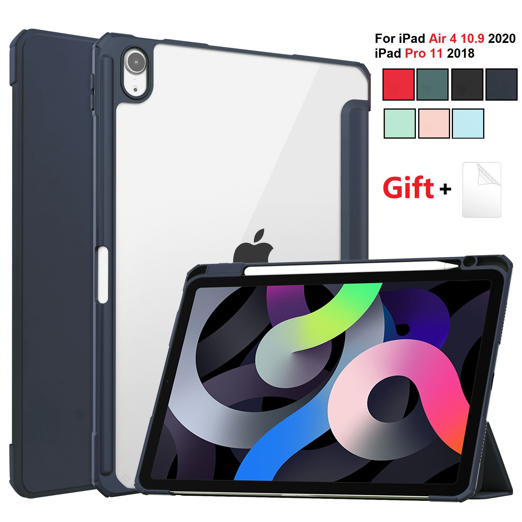 for iPad Air 4 DBlue Blue For iPad Air 2020 Case 10 9 inch Tablet Case 3 folding Cover Funda Auto Wake
