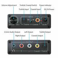 Convertidor de digital a analógico de 24 bits 3,5 Jack RCA DAC Spdif amplificador decodificador de fibra óptica Coaxial para auriculares con perilla de volumen