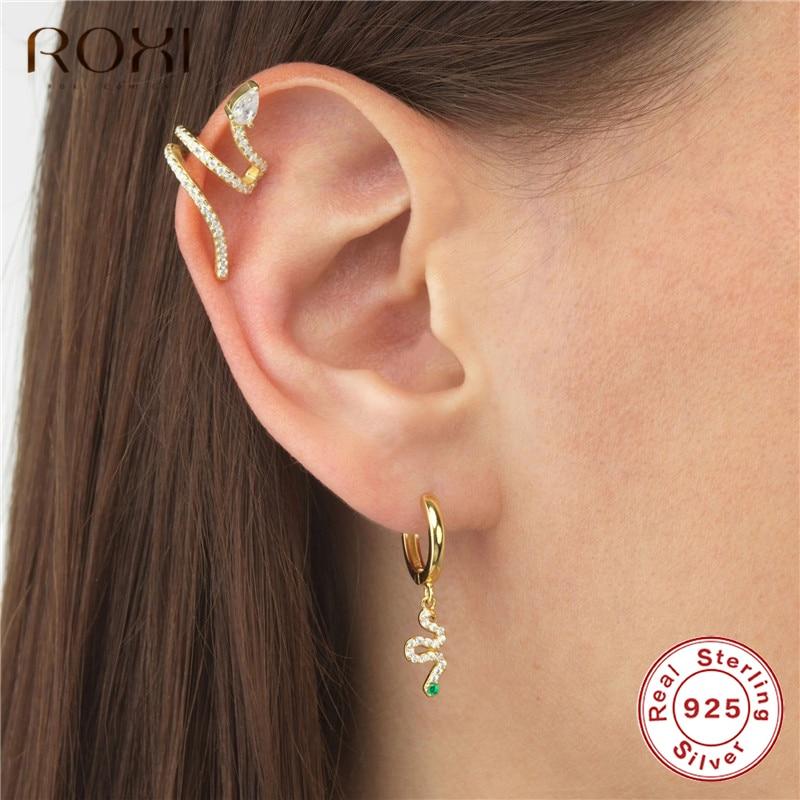 ROXI Punk Style Long Serpentine Snake Stud Earrings 100% 925 Sterling Silver CZ Snakelike Stud Earrings For Women Animal Jewelry
