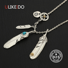 Solid 925 Sterling Silver Feather Necklace For Men Vintage Turquoise Charms Eagle Pendant Chain New Fine Jewelry P25