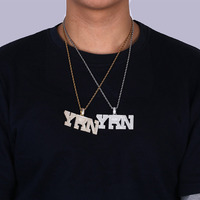 Fashion Name Cubic Zircon Iced Out Chain YRN Letters Pendant Necklace Men Gold Silver Color Necklace Hip Hop Fashion Jewelry