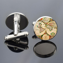 Vintage World Map Cufflinks for Mens Brand Cuff Button Shirt Links High Quality Men Jewelry Suit Accessories