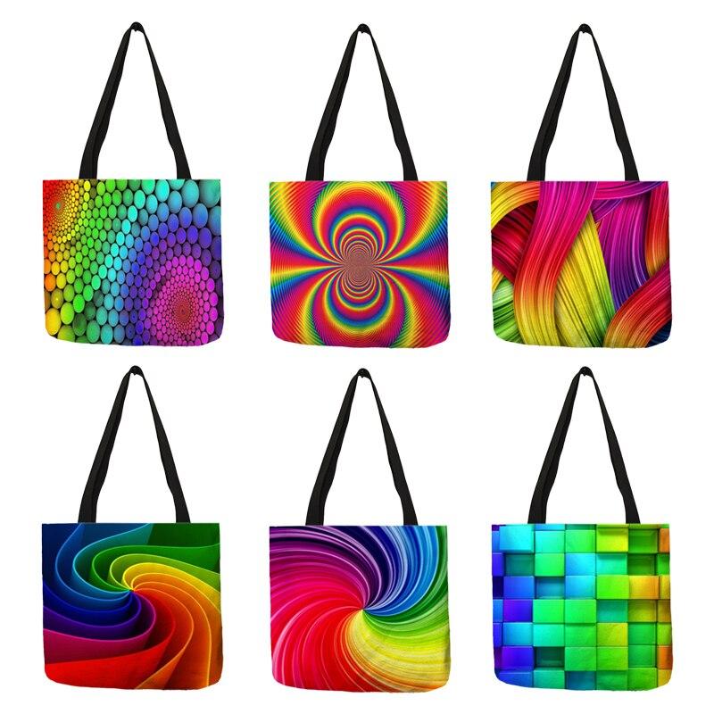 Colorful Rainbow Geometry Design Fabric Tote Bag Eco Linen Shopping Bags Reusable Women's Handbags