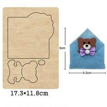 Кошелек с милым медведем конверт бумажник деревянная форма штампы