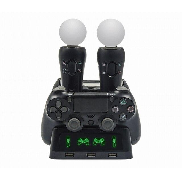Station de chargeur de manette pour PSVR PS4 Base VR poignée support de support de contrôleur PS déplacer le jeu de mouvement Joystick Station de charge pour PS