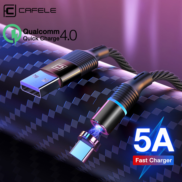Cafele 5A Super fast charge QC4.0 Magnetic Cable USB C Charging Type C Cable For Huawei P30 P20 P10 Mate 20 Pro Lite Charger