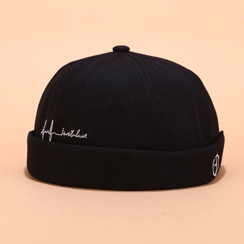 Embroidery Letter Men Women Skullcap Hat Cap Casual Docker Sailor Mechanic Brimless Solid Color Gorro Invierno Mujer Spring Cap