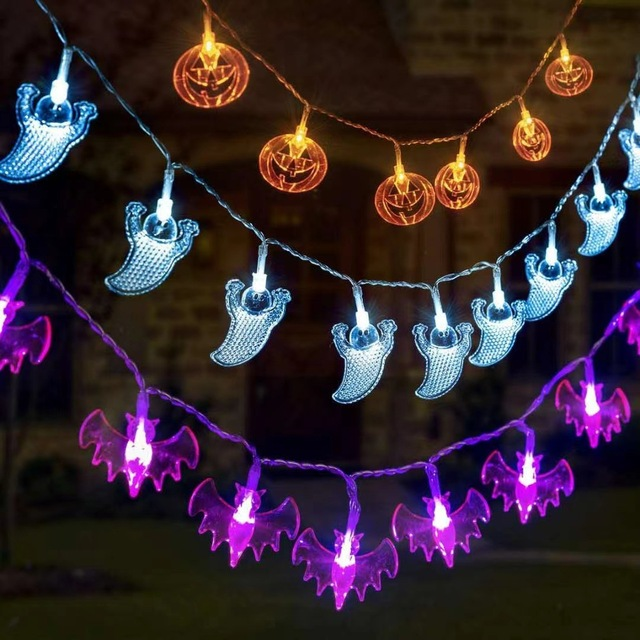 1 5m Halloween Party Led Light String Purple Bat Party Pumkin Horror Ghost Festival Party Happy