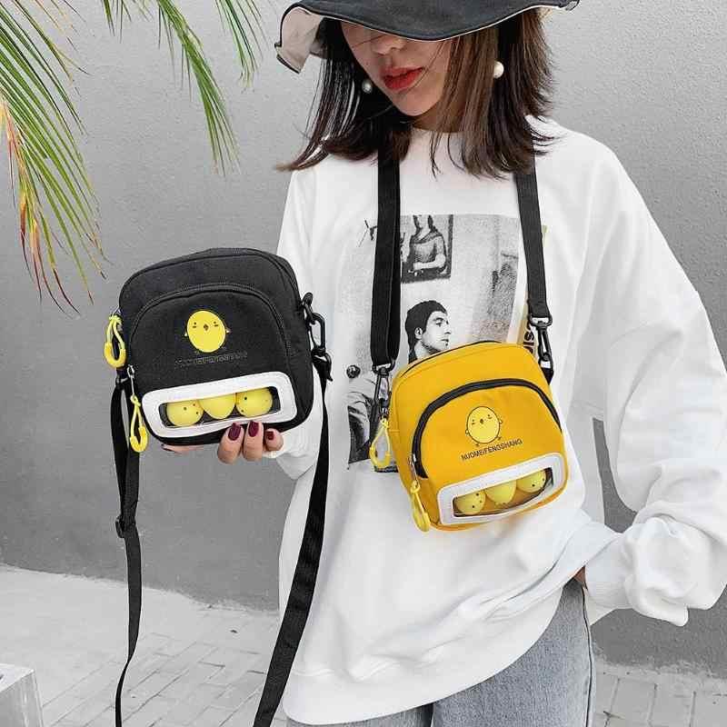 Bolsa de ombro feminina bolsas de lona casual cartoon bonito mensageiro bolsa