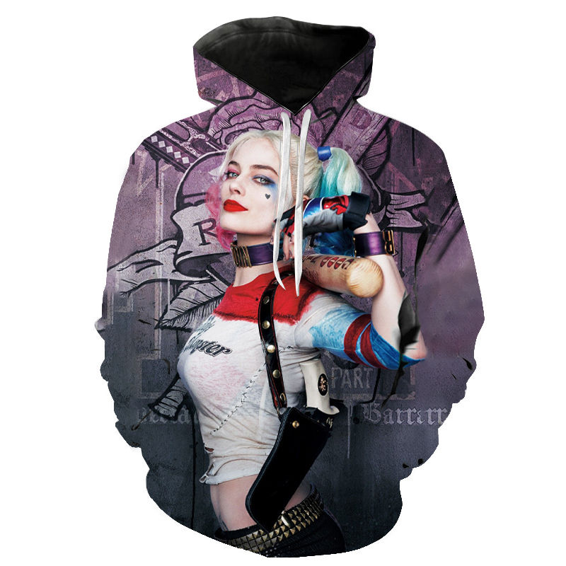 Birds Of Prey Harley Quinn Hoodies Men Women 3D Print Sweatshirts Fashion Harajuku Pullover Cool Hooded Streetwear Coat Jacket