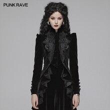PUNK RAVE Women's Gothic Lolita Black Short Jacket Coat Evening Party Gorgeous Velvet Short Coat Steampunk Retro Party Jacket