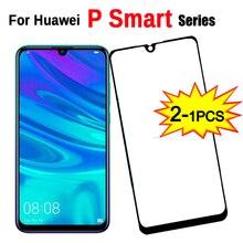 Vidro protetor temperado 9H com 1 2 peças, segurança para Huawei P Smart + Plus/Pro/Z, protetor de tela HD de 2019
