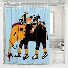 цена на Anime Elephant African Shower Curtain Funny Bathroom Curtain Waterproof Mildewproof Fabric Bath Curtains 180x200 180x220 180x240